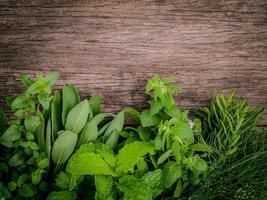 aromatiska örter på trä foto
