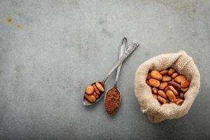 kakaobönor på konkret bakgrund foto