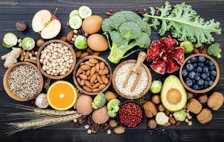ovanifrån av hälsosamma ingredienser foto