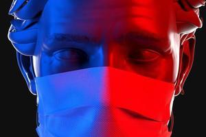 närbild 3d porträtt av en man som bär engångs skyddande ansiktsmask