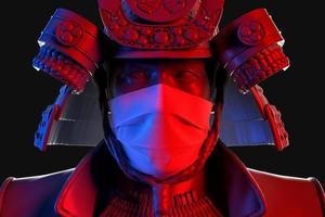 närbild 3d porträtt av samurai bär medicinsk skyddande mask