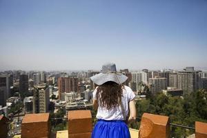 vy vid Santiago de Chile från Santa Lucia Hill foto