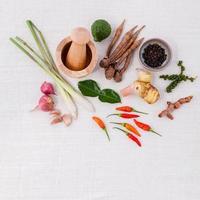thailändska matlagningsingredienser på vitt foto