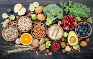färsk hälsosam mat ovanifrån foto