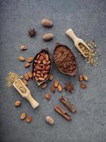 kakaobönor och pulver foto