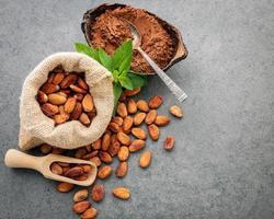 kakaobönor och kakaopulver i en påse och en maträtt foto