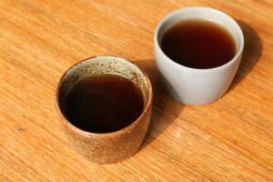 två muggar grönt te på bordet
