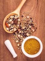 torkade och malda kryddor