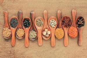 diverse kryddor i träskedar