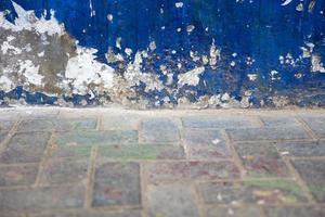 detalj av den gamla blå väggen