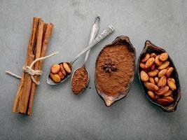 kakaopulver och kakaobönor ovanifrån foto