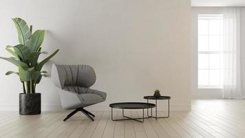 inre av ett modernt vardagsrum i en rendering 3d foto