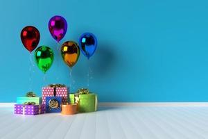 Gåvaask 3d med ballonger på bakgrund
