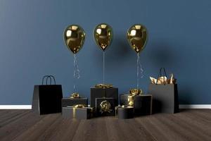 Presentaskar 3d med ballonger på bakgrund