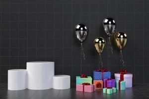Gåvaask 3d med ballonger på bakgrund foto