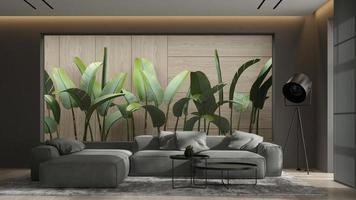 minimalistisk inredning av ett modernt vardagsrum i tolkning 3d foto