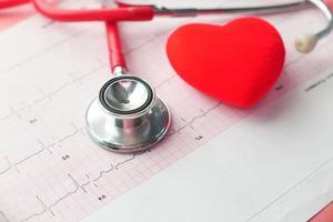 stetoskop och hjärta på ett kardiodiagram foto