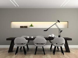 modern inre matsal i tolkning 3d foto