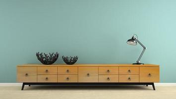 interiör med en retro konsol och en svart lampa i 3d-rendering foto