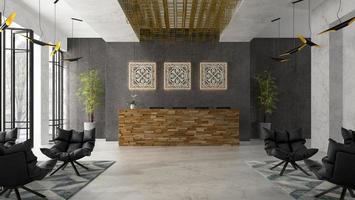 inre av ett hotell- och spa-mottagande i illustration 3d foto