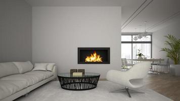 inre av ett modernt loft med en öppen spis och en vit soffa i tolkning 3d foto