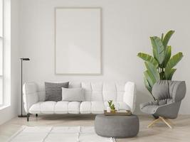 mockupaffisch i ett vitt inre rum i illustration 3d