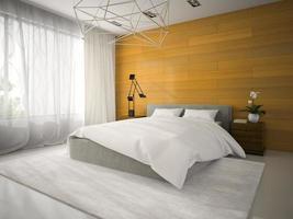 inre av ett sovrum med träväggar i tolkning 3d