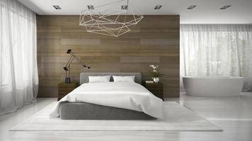 inre av ett modernt sovrum med ett badkar i tolkning 3d foto