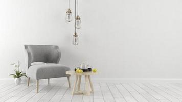 vit inredningsdesign i tolkning 3d foto