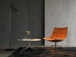 inre av ett modernt rum med en soffa i tolkning 3d foto