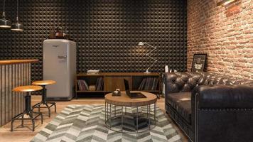 inre av ett modernt vardagsrum med en bar i tolkning 3d foto