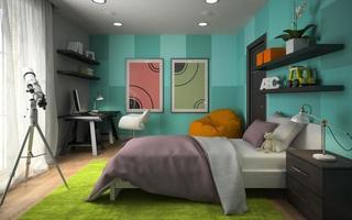inre av ett modernt sovrum med blå väggar i tolkning 3d foto