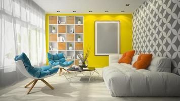 inredning modern design av ett rum i illustration 3d foto