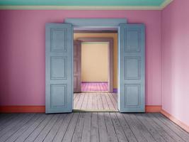 inre av ett tomt rum i tolkning 3d