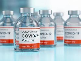 medicinsk vaccinflaskflaska för covid-19 coronavirus i ett forskningsmedicinskt laboratorium i 3d-illustration foto