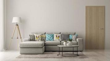 inre av ett modernt vardagsrum med en soffa och möbler i tolkning 3d