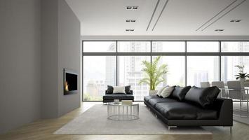inre av ett modernt loft med en öppen spis och svart soffa i tolkning 3d foto