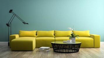 del av en interiör med en modern gul soffa i tolkning 3d foto