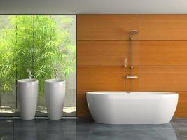 inre av ett badrum med växter i tolkning 3d