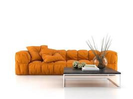 modern soffa som isoleras på en vit bakgrund i tolkning 3d foto