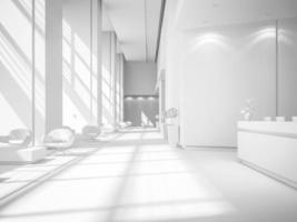 vit inredning av ett hotell- och spa-mottagningsområde i illustration 3d foto
