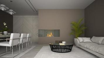 inre av ett modernt rum med en öppen spis och palmväxt i tolkning 3d foto