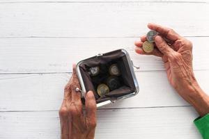 ovanifrån av myntväskan foto