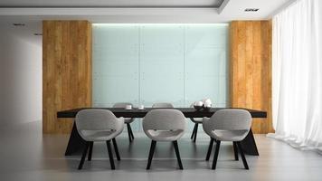 modern inredning av ett mötesrum i tolkning 3d foto