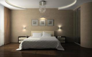 inre av ett snyggt sovrum i tolkning 3d foto