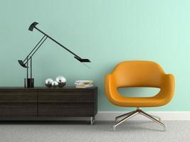 del av en interiör med en modern gul fåtölj i tolkning 3d foto
