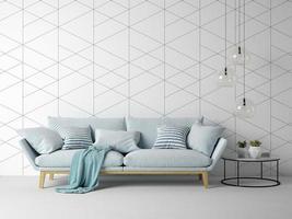inre av ett modernt vardagsrum med en soffa och möbler i tolkning 3d foto