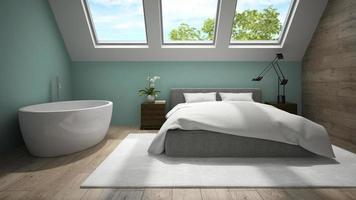 inre av ett mansard sovrum med blå väggar i tolkning 3d foto