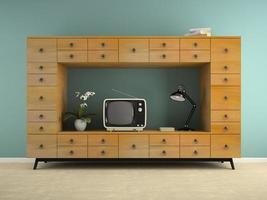 del av en interiör med en retro konsol och tv i 3d-rendering foto