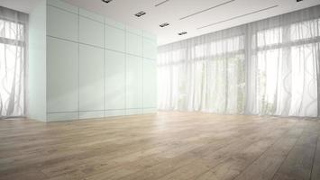 tomt rum med blå skåp i tolkning 3d